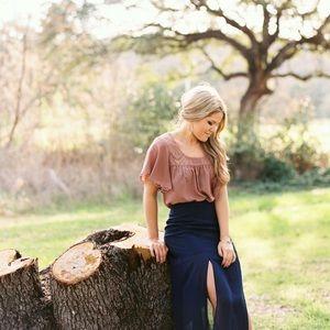 Long Blue Slit Skirt